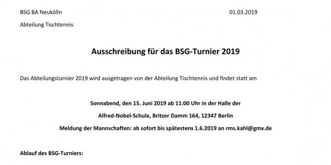 Einladung zum BSG-internen Turnier der Abteilung Tischtennis